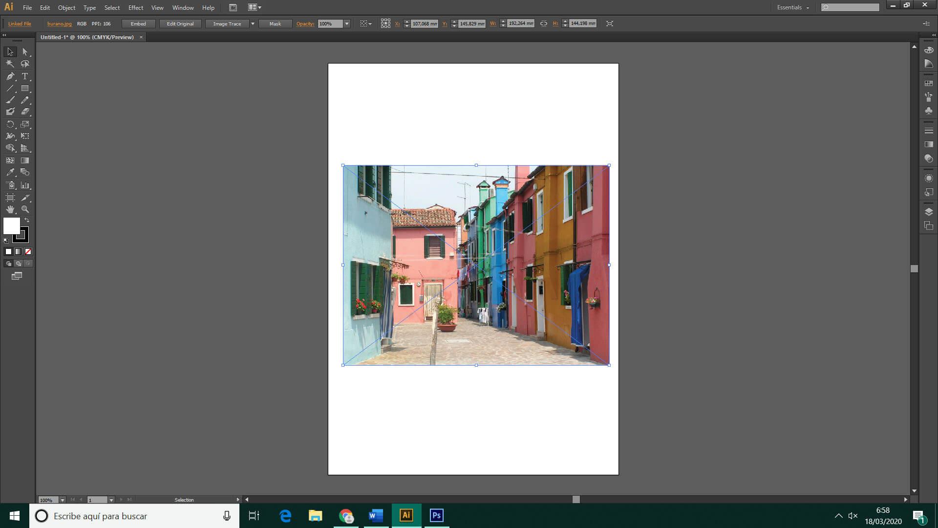 connvertir imagen en dibujo illustrator