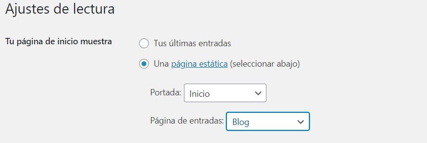 cambiar página de entradas en wordpress