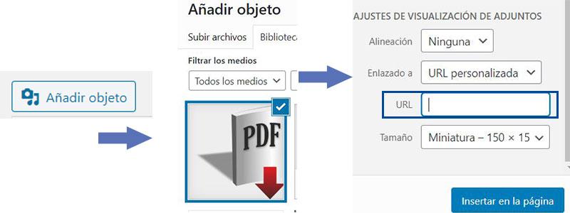 enlazar imagen con pdf, wordpress