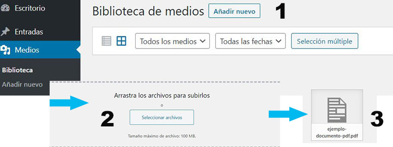 subir archivo pdf a wordpress