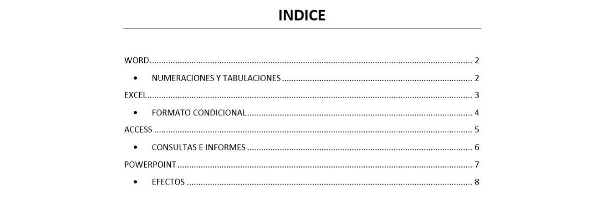 tabla de contenido en word