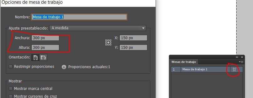 cambiar medidas mesas de trabajo en Illustrator