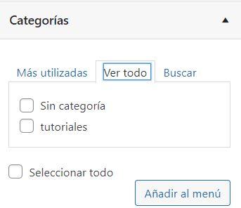 agregar categoría menú wordpress