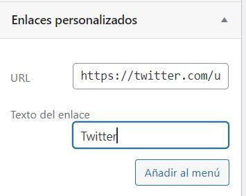agregar enlace personalizado wordpress