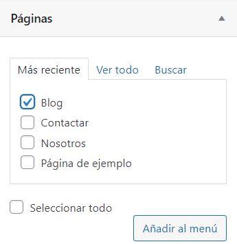 agregar pagina menú wordpress