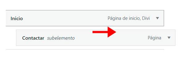 anidar elementos en menú wordpress