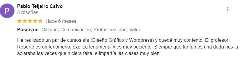 wp reseñas cursos wordpress